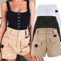 Women Casual Shorts High Waist Pants Elastic Waist Bottoms Pocket Wide Leg Pant