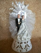 Stunning! Vintage 1950's 25 25th Wedding Anniversary Bride and Groom Cake Topper
