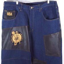 Boston Celtics UNK NBA Black Leather Blue Denim Patch Men's Jeans 38 x 34