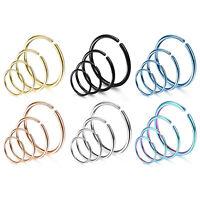 24PCS Surgical Steel Nose Ring Hoop Cartilage Hoop Septum Body Piercing 6-12mm