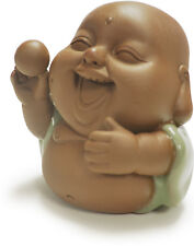 Little Laughing Luck Buddha w/Balll in Hand Small Clay Figurine Cute Decor