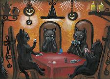 4x6 print of painting HALLOWEEN ART RYTA BLACK CAT POKER VINTAGE FOLK ART STYLE