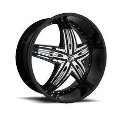 24 INCH DIABLO USA RAGE WHEELS BLACK TYRE PACKAGE DEAL CHROME INSERTS RIMS