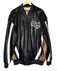 Vtg 90s Carl Banks G-III St Louis Rams Los Angeles Black Leather Mens Jacket XXL