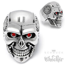 XL Edelstahl Terminator Ring Totenkopf groß silber massiv Actionheld Actionfilm