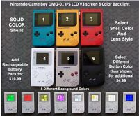 Nintendo Game Boy DMG-01 with IPS LCD V3 screen 8 Color Backlight - Solid Colors