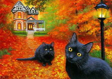 Black cats lamp Victorian house fall autumn Halloween OE aceo print art