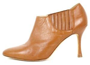 MANOLO BLAHNIK Caramel Tan Leather Almond Toe Heels Booties 37