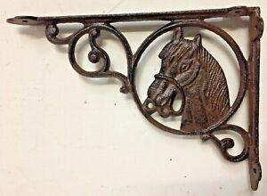 SET OF 4 WESTERN HORSE HEAD SHELF BRACKET BRACE, Rustic Brown Finish cast iron
