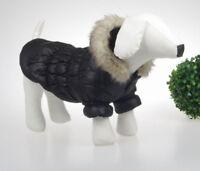 sehr warme Hundejacke Winterjacke Steppjacke mit Kapuze+Fell Hund Mantel  M
