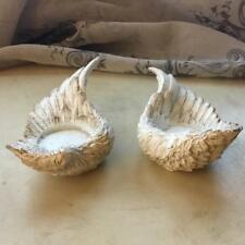 Set of 2 Angel Wings T-Light Candle Holders, French shabby chic style feathers
