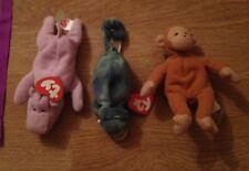 3 piccole TY Beanies Hippo, Scimmia Lizard