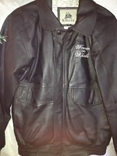 BURK'S BAY BLACK LEATHER MOTORCYCLE JACKET WOMENS SM ZIP UP SNAP CUFF 6 POCKETS