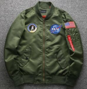 2021 MENS EMBROIDERED NASA JACKET MILITARY ARMY FLIGHT BOMBER JACKET
