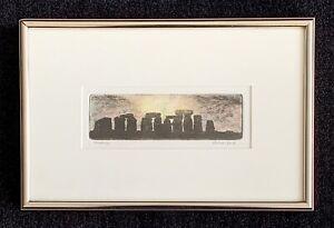 """Michael Bond signed etching """"Stonehenge"""""""