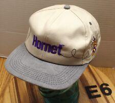 VINTAGE HORNET HERBICIDE TRUCKERS HAT BEIGE & GRAY SNAPBACK EMBROIDERED E6