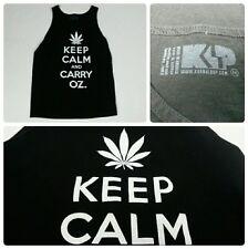 Keep Calm And Carry OZ. Marijuana Leaf Black Tank Top Mens Size Medium 420 Pot