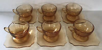Vintage Amber Depression Glass Cups & Saucers (6) New Martinsville #44 Art Deco