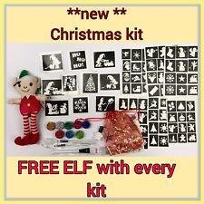 CHRISTMAS GLITTER TATTOO KIT  82 Stencils  Plus FREE Elf