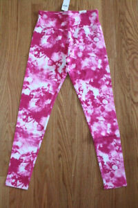 Justice Girls' Full Length Pink Patterned Leggings with Wide Comfort Waistband