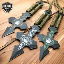 "3PC 6.5"" Ninja Tactical Skull CROSS Combat Naruto Kunai Throwing Knife Set NEW"