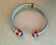 Vintage stainless steel cable bangle red enamel lapis lazuli yellow accents