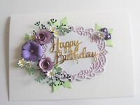 Personalised Handmade Luxury Birthday Keepsake Card Flowers in Purples with Box