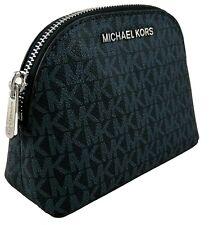 Michael Kors Make Up Bag Case Travel Pouch Admiral Navy Blue PVC Logo Monogram