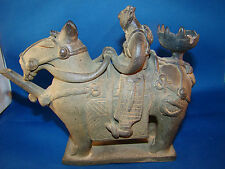 Chinese Terracotta WARRIOR & HORSE Sculpture Incense burner or PIPE ? RARE @22