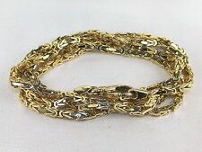 """Italy 14k Yellow Gold Square Byzantine Chain Necklace-22"""""""