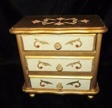 "Vintage Gold Wood 3 Drawer Jewelry Box w/Music Box - ""Somewhere My Love"""
