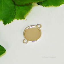 12mm Round Silver Plated Cabochon (Cab) 2 Ring Drop Setting (#A2-05)