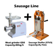 Hakka 3L/7LB 5-7 Pound Sausage Stuffer And #12 Powerful Meat Grinder (G50+ST-V3)