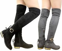 Ladies Womens Thigh High Over The Knee Tie Back Buckle Low Heel Boots Shoes Size