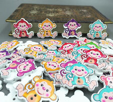 DIY 20X  multicolor Monkey Pattern Wooden Buttons Fit Sewing and Scrapbook 29mm