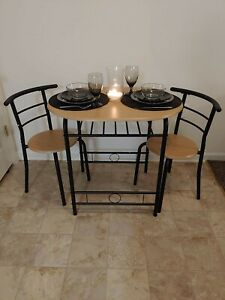3 PCS Small Dining Table Set, 2 Chairs Home Kitchen Breakfast Furniture  Natural