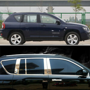 Stainless Steel Chrome Window Sills+Pillar Posts Trims Cover For Jeep Compass