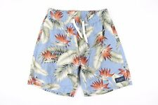 BARNEY COOL HAWAIIAN FLORAL BLUE 30 LINEN BLEND DRAW STRING SHORTS MENS NEW