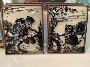 "2 VINTAGE REVERSE PAINTED SILHOUETTE CATS CONVEX BUBBLE GLASS 4"" X 5"" Paintings"