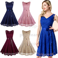 Woman Lace Dress Cocktail Evening Wedding Party Swing Short Bridesmaid Dresses