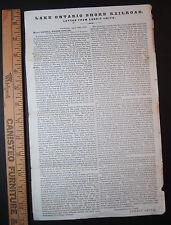 RARE Lake Ontario Shore Railroad 1870 Broadside Letter Abolitionist Gerrit Smith