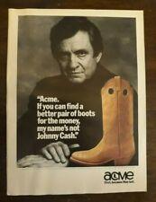 Lot of 9 Cowboy Boot Magazine Print Ads-1980s-Johnny Cash-Wrangler-Hondo-Acme