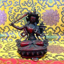 MANJUSHIRI WISDOM BUDDHA Tibetan Statue Handmade Nepal Resin 5.75 Inch