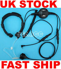 Military Tactical Throat Mic Headset/Earpiece For Binatone Radio Walkie Talkie