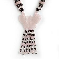Chalcedony Butterfly Necklace with Garnet Quartz Pearl 925 Sterling Brand New ss