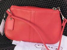 Coach New Leather Wristlet Papaya Color  Beautiful NWTags Free Shipping