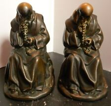 "Antique Bronze Rosary Praying Monk Bookends Devotion 6.75"" x 4.5"" x 4"" Excellent"
