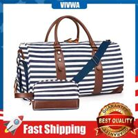 """21"""" Weekender Bags Canvas Leather Duffle Bag Travel Tote Bag with Luggage Sleeve"""
