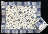 Waverly Williamsburg Nassau Blue Floral & Spotswood Stripe Pillow Shams (RF994)