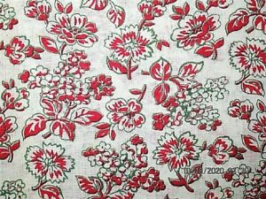 VTG 38X44 TINY RED FLOWERS COTTON FEEDSACK FABRIC QUILT CRAFT PROJECT SEWING